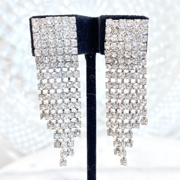 Prom Pageant Bridal Jewelry - Vintage Prom Pageant Bridal Rhinestone Clips